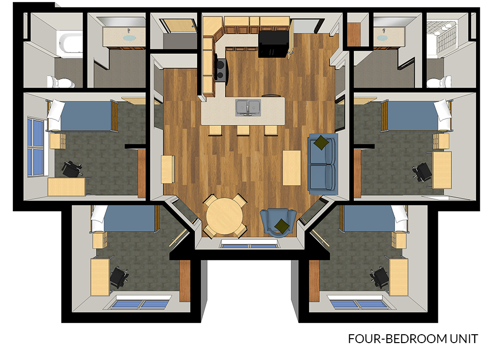 Floor plan for a four-bedroom suite